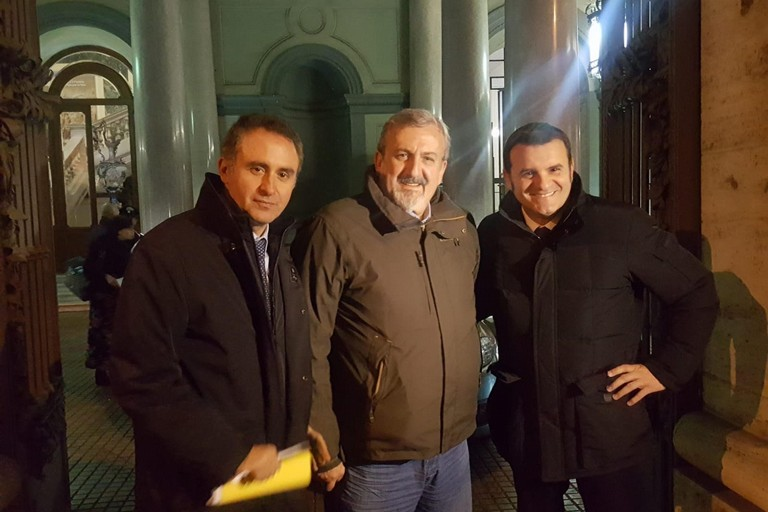 da sx Di Gioia, Emiliano e Centinaio