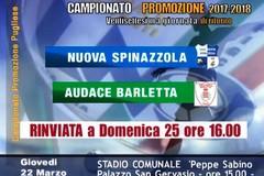 Freddo e neve: rinviata Nuova Spinazzola - Audace Barletta