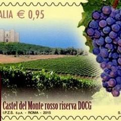 """Vino  """"Castel del Monte rosso riserva """" su francobolli speciali"""