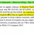 """Di Bari (M5S):  """"Potenziamento del trasporto su gomma per la tratta Spinazzola-Minervino-Bari """""""