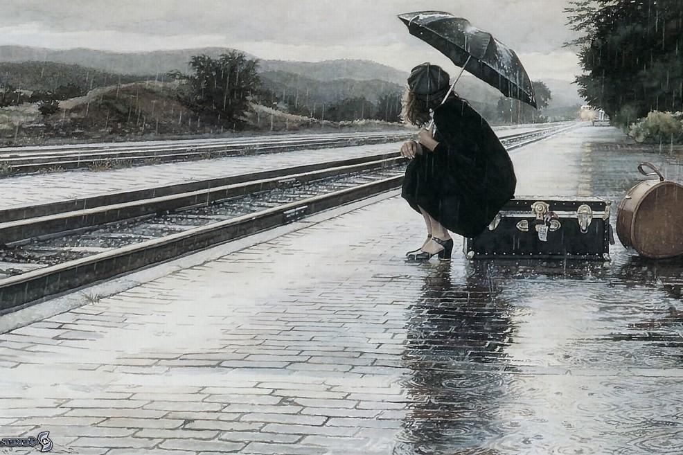 Pioggia Donna Stazione Ombrello meteo
